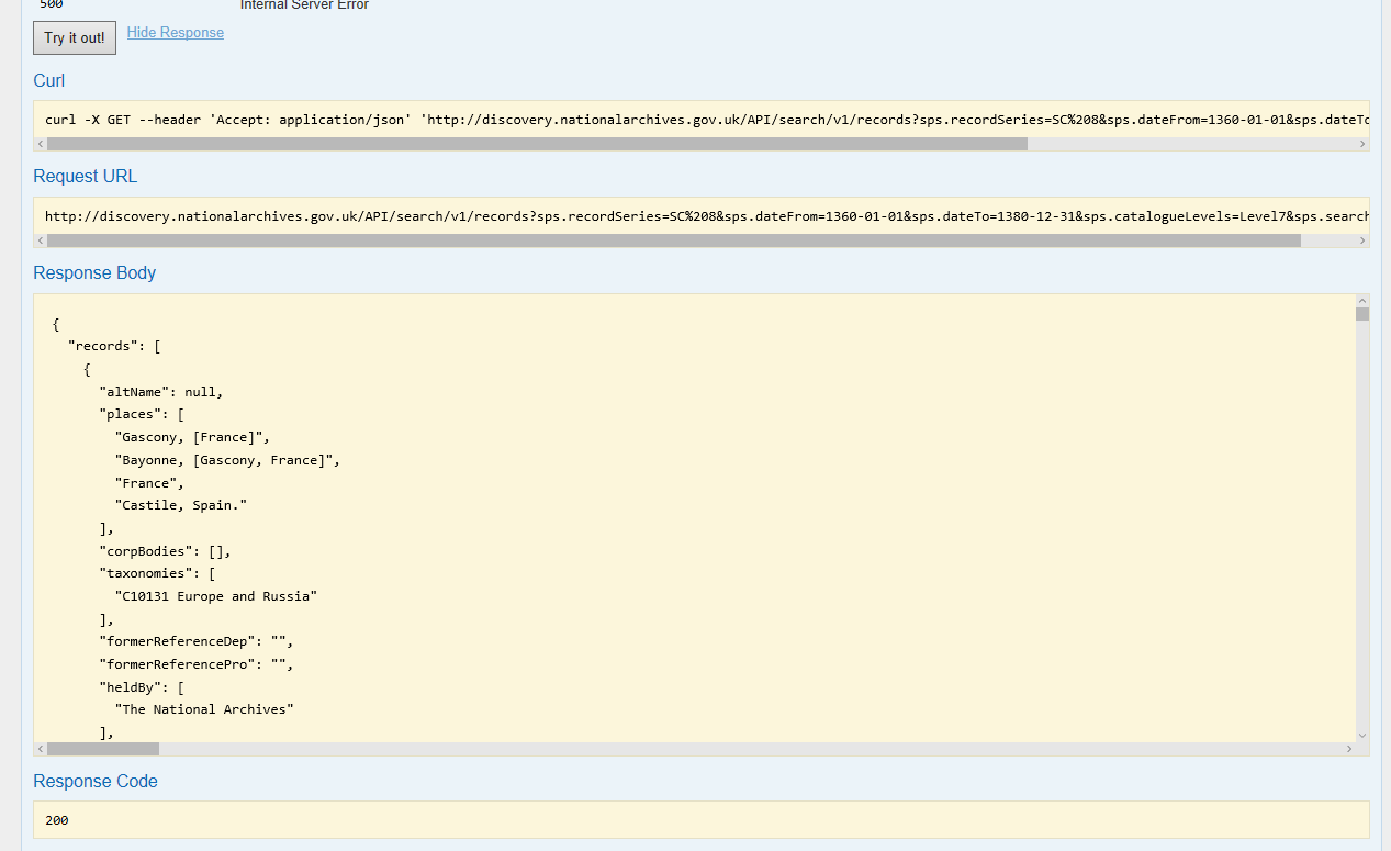 """Screenshot of web page, at the top left is a button labelled """"Try it out!"""", below are boxes labelled """"Curl"""" and containing an exaple Curl command, """"Request URL"""", containg an example URL request to send to the API, and then """"Response Body"""" where the box shows the first few lines of the JSON returned by the API"""