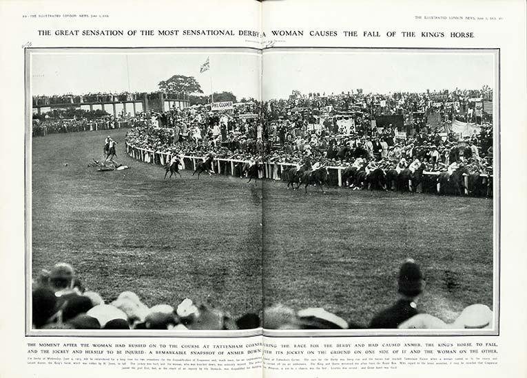 The King's horse Anmer is brought down by suffragette Emily Davison during the Derby at Epsom, 4 June 1913. Catalogue reference: ZPER 34/142.