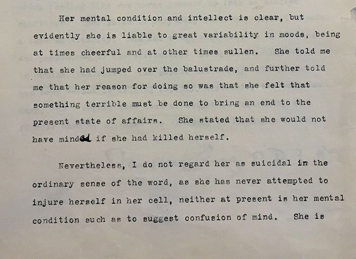 Medical report from Emily's prison stay in 1912. Catalogue reference: HO 144/1150/210696.