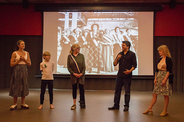 Photo from the event of Philippa Bilton, descendant of Emily Wilding Davison, being introduced to the audience. Images by Scott David.