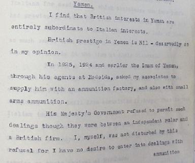 CO 725/9/53 British concern at Italian influence in Yemen.