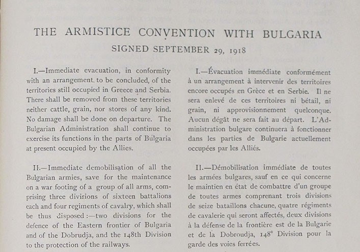 Terms of armistice with Bulgaria. TNA reference ADM 116/1931