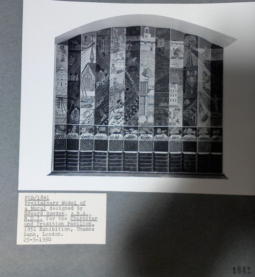 Photograph of preliminary model of a mural designed by Edward Bawden, Drawings by R.Y.Goodden and R.D.Russell, WORK 25/162/C2/SB14-G/2N