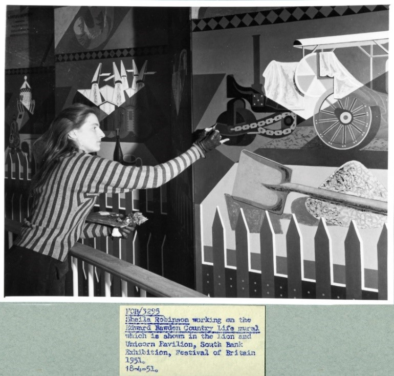 Sheila Robinson working on the Edward Bawden Country Life Mural, Location: South Bank. Document reference: WORK 25/206/D1/FOB-3295