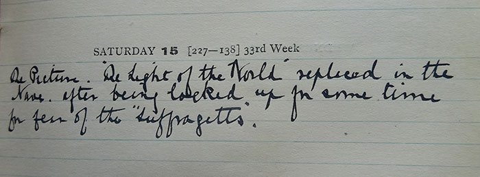 Page from Dean's Virger Diary, 15 August 1914 (no ref.). St Paul's Cathedral Archive, reproduced by permission of the Chapter of St Paul's Cathedral