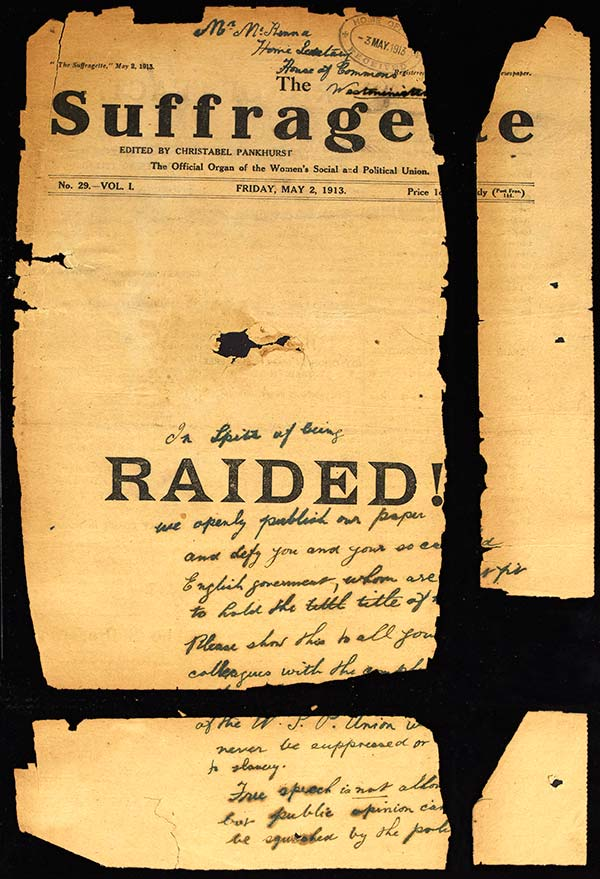 Front cover of The Suffragette found wrapped around a bomb at St Paul's Cathedral. Catalogue reference: HO 45/10700/236973