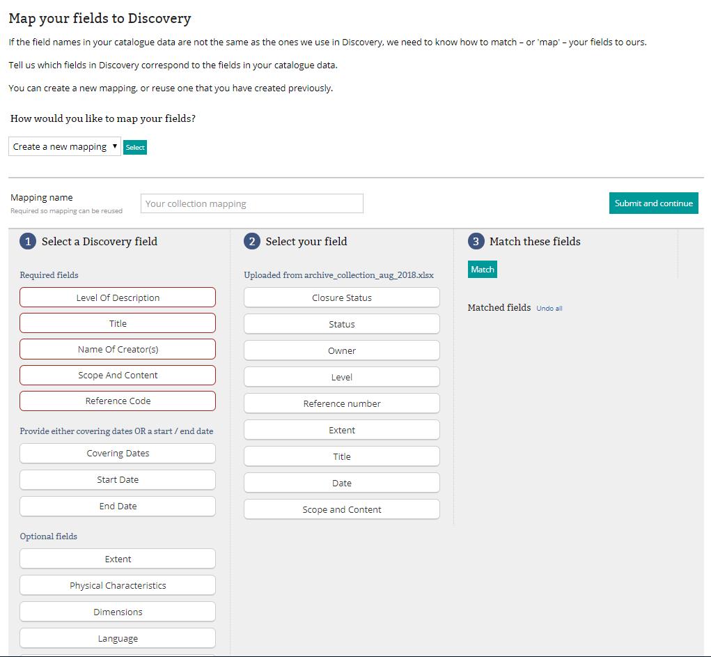 The MYC metadata mapper interface