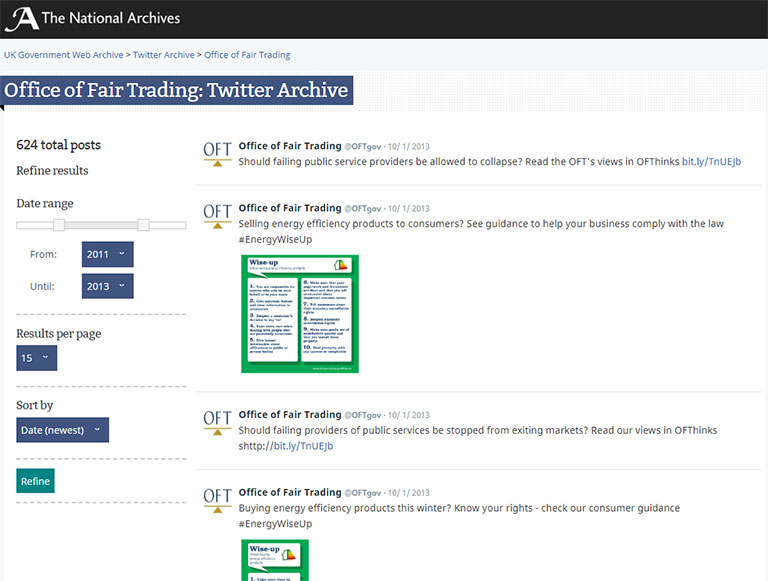 Archived tweets from the Office of Fair Trading