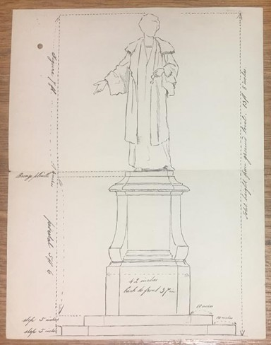 Drawing of proposed Emmeline Pankhurst's statue. Reference: WORK 20/188.