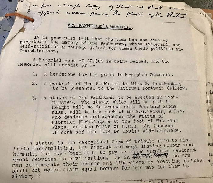 Image of memorandum by Kitty Marshall concerning Emmeline Pankhurst's statue, 1928-1930. Reference: WORK 20/188.