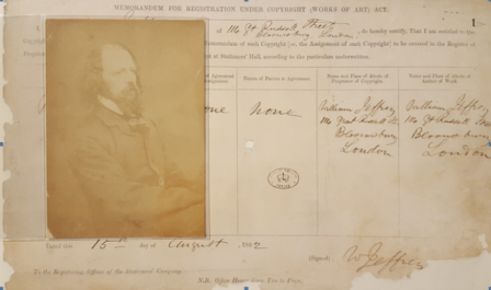 An image of the registration form a photograph of Alfred Tennyson registered by William Jeffrey on 15 August 1862 reference COPY 1/1/1