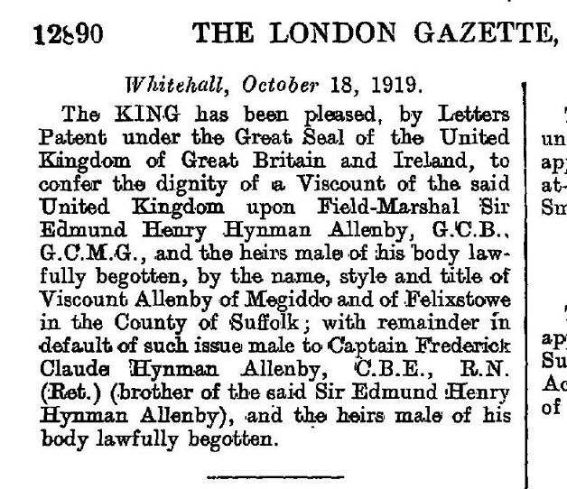 London Gazette, 18 October 1919