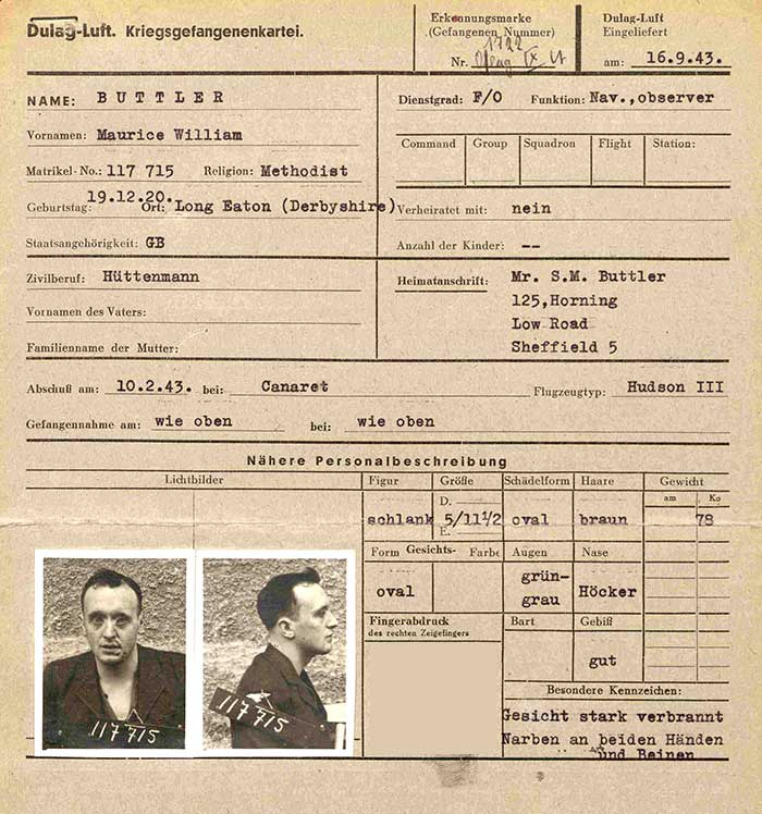 Maurice William Buttler - WO 416/53/413
