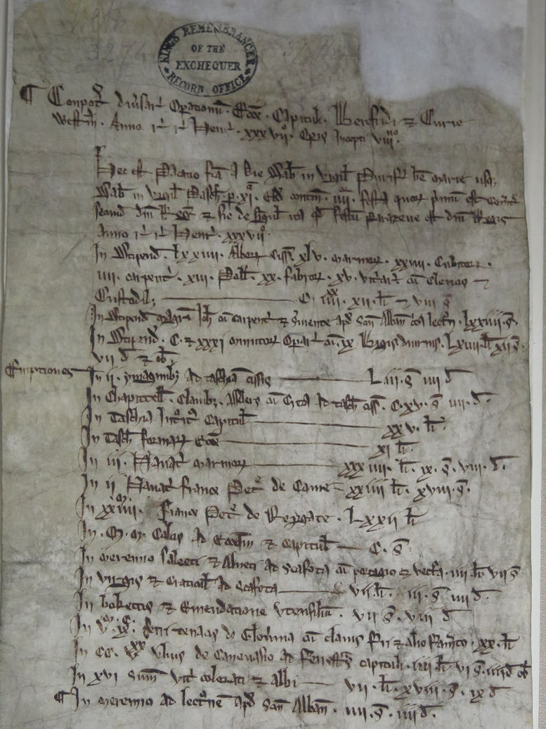 Account of works at Westminster Abbey from 1253.