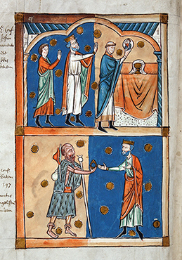 Illuminations of the miracles of St Edward the Confessor, from a 13th centry work.