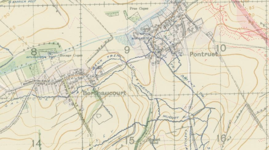 Military map showing trench lines, Beux trench starts in the middle of the image and runs approx east-north-east and joins leduc trench which runs roughly south-east