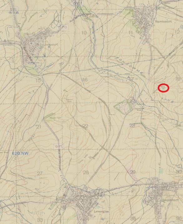 Military map, from top left clockwise the villages of Joncourt, Ramicourt, Sequenhart and Levergies are in roughly the four corners of the area shown, a small area just above and to the right of the centre of the amp area is circled.