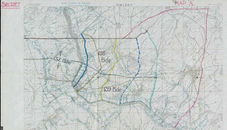 Military map showing the area around Bellenglise and the St Quentin Canal. To the west of the canal are lines marked in varios colours to show the objectives of the attack.