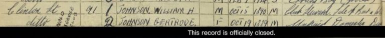 Extract from register entry showing entries for William and Gertrude with their fulld ates of birth and occupation. There is also a clsoed record.