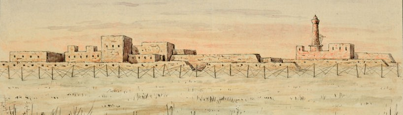 Watercolour of the Liquorice factory at Kut by Muhammed Amin Bey. Catalogue reference CAB 44/35