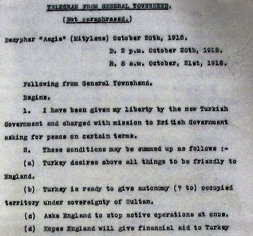 Telegram from General Townshend, 20 October 1918. Catalogue reference ADM 116/1652