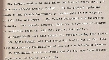 Three Power discussion at the Palais de Versailles, 30 October 1918. Catalogue reference ADM 116/1652