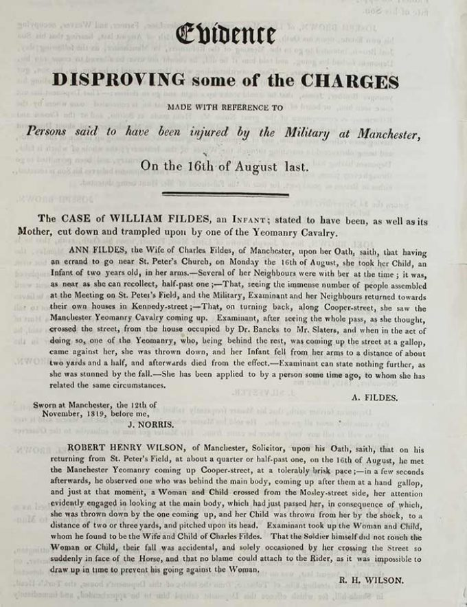 'Evidence disproving some of the charges', pamphlet published in the wake of Peterloo, November 1819. Catalogue reference: HO 42/199, folio 217