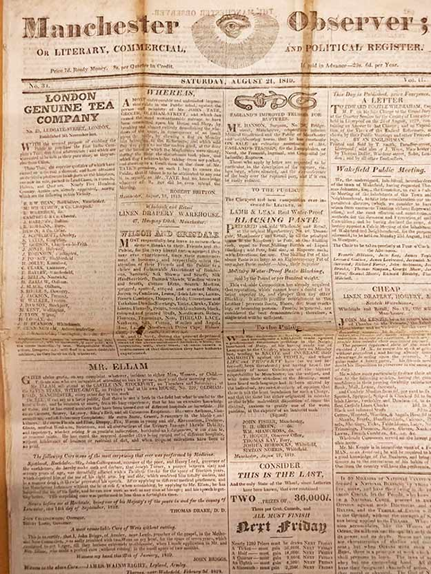 The front cover of the Manchester Observer, owned by Joseph Johnson (arrested at Peterloo) from 21 August 1819, just after the Massacre took place. Catalogue reference: HO 42/192