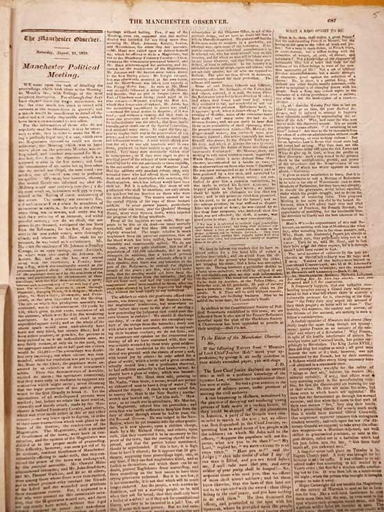 Article on the Peterloo Massacre published by the Manchester Observer, 21 August 1819. Catalogue reference: HO 42/192