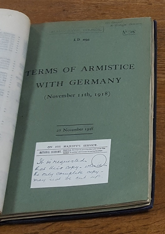 Terms of Armistice with germany. This is the Admiralty's official copy. Catalogue reference: ADM 116/1931