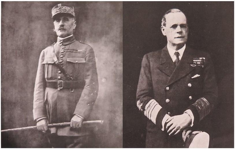 Marshal Ferdinand Foch and Admiral Sir Rosslyn Wemyss, signatories of the armistice on behalf of the Allies. Catalogue ref: ZPER 34/153