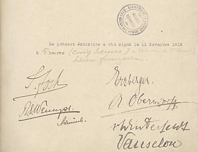 The original copy of the Armistice Convention, bearing the signatures of the Allied and German plenipotentiaries. This document is held by the Service historique de la Défense (SHD) which is the Archives of the French Ministry of Defence. Reference: FRSHD GR 15 NN 32