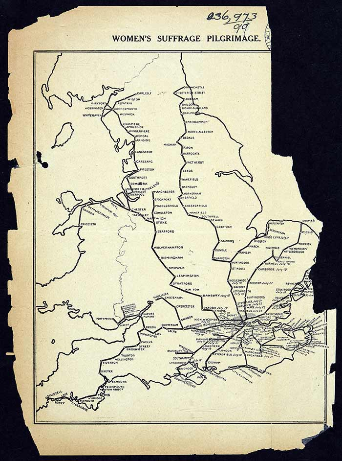 Women's Suffrage Pilgrimage map from 'The Common Cause' which shows the extent of the national suffrage campaigns, June to July 1913. Reference: HO45/10695/231366.