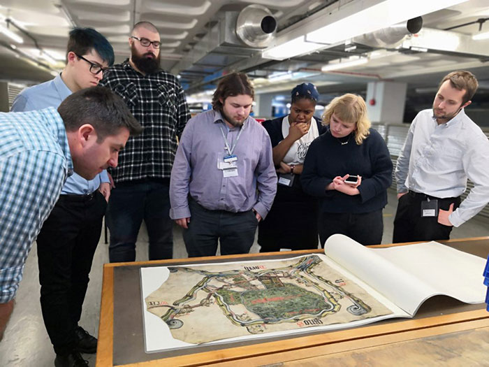This year's trainees tour the repositories at The National Archives