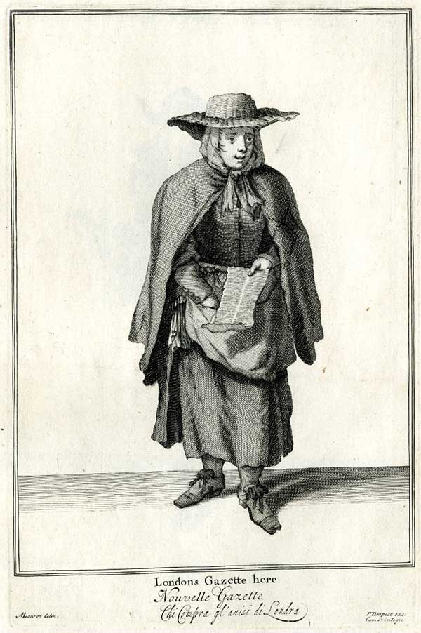 Engraving of a Gazette Seller, copyright Trustees of the British Museum
