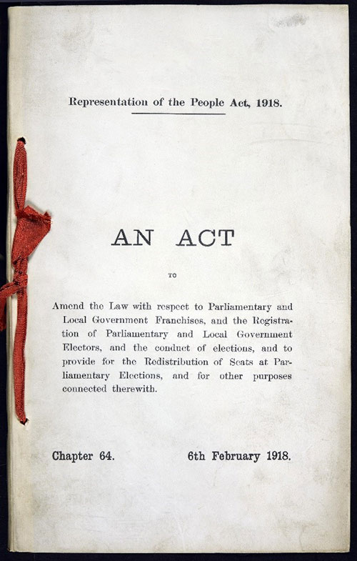 Cover of the Representation of the People Act, 1918. Catalogue ref: C 65/6385