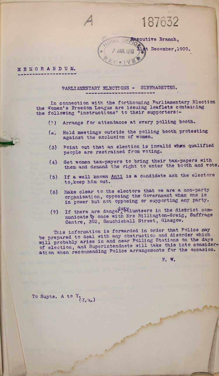 In the build up to the 1910 election the Women's Freedom League are issued leaflets containing the following 'instructions' to their supporters - how different this was from the 1918 election! Reference HO 45_10597_187632.