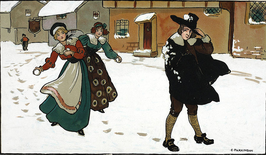 Coloured illustration of two girls throwing snowballs at Puritan