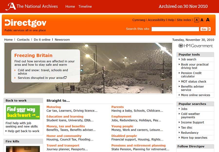 Snapshot of: http://www.direct.gov.uk/en/index.htm captured 30 November 2010 - click image to view archived website