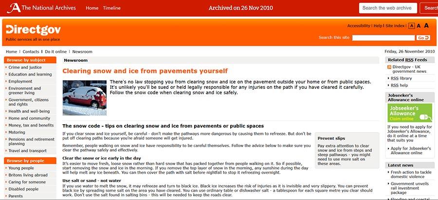 Snapshot of: http://www.direct.gov.uk/en/Nl1/Newsroom/DG_191868 captured 26 November 2010 - click image to view archived website
