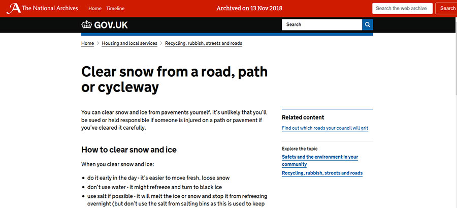 Snapshot of: https://www.gov.uk/clear-snow-road-path-cycleway captured 13 November 2018 - click image to view archived website