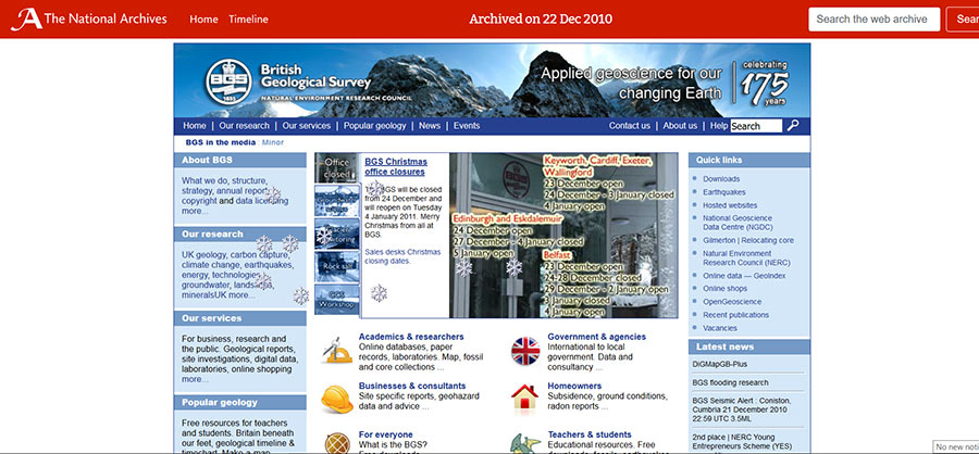 Snapshot of: http://www.bgs.ac.uk/ captured 22 December 2010 - click on image to view archived website