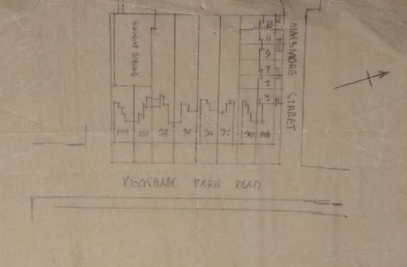 Plan of the properties at 88-102 Peckham Park Road and 3-13 Maismore Street (IR 35/15)