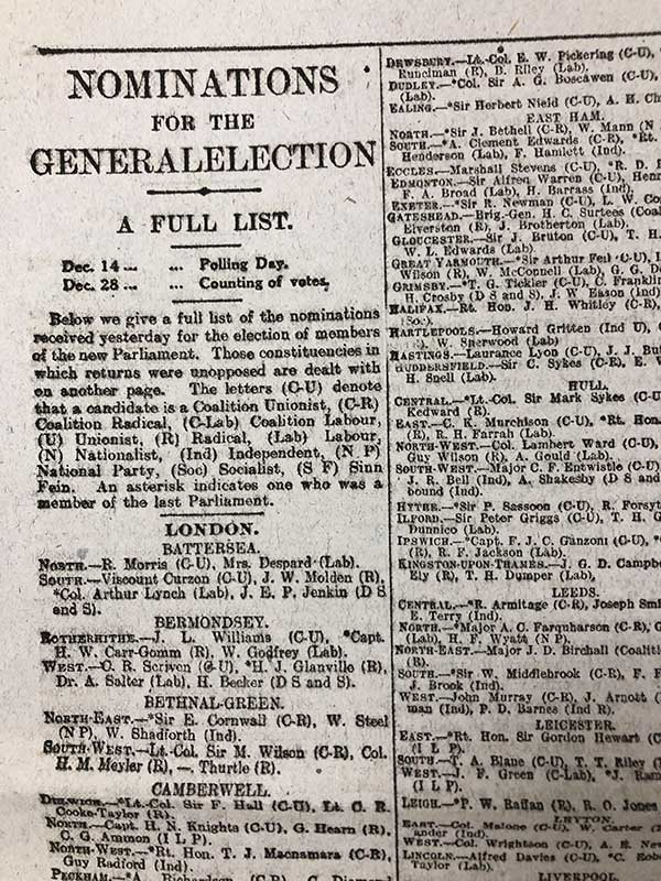 Full list of nominations for the December 1918 election. Reference: LCO 2/4412
