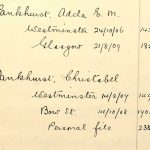 Christabel Pankhurst, as listed in the Home Office index of Suffragettes arrested, 1906-1914. Reference: HO 45/24665. This has been made searchable online by Ancestry, in association with The National Archives: England, Suffragettes Arrested, 1906-1914