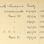Emmeline Pethick-Lawrence, as listed in the Home Office index of Suffragettes arrested, 1906-1914. Reference: HO 45/24665.