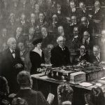 Nancy Astor takes her oath and her seat, as the first woman to sit in the House of Commons, as documented in the Illustrated London News, 6 December 1919. Reference: ZPER 34/155