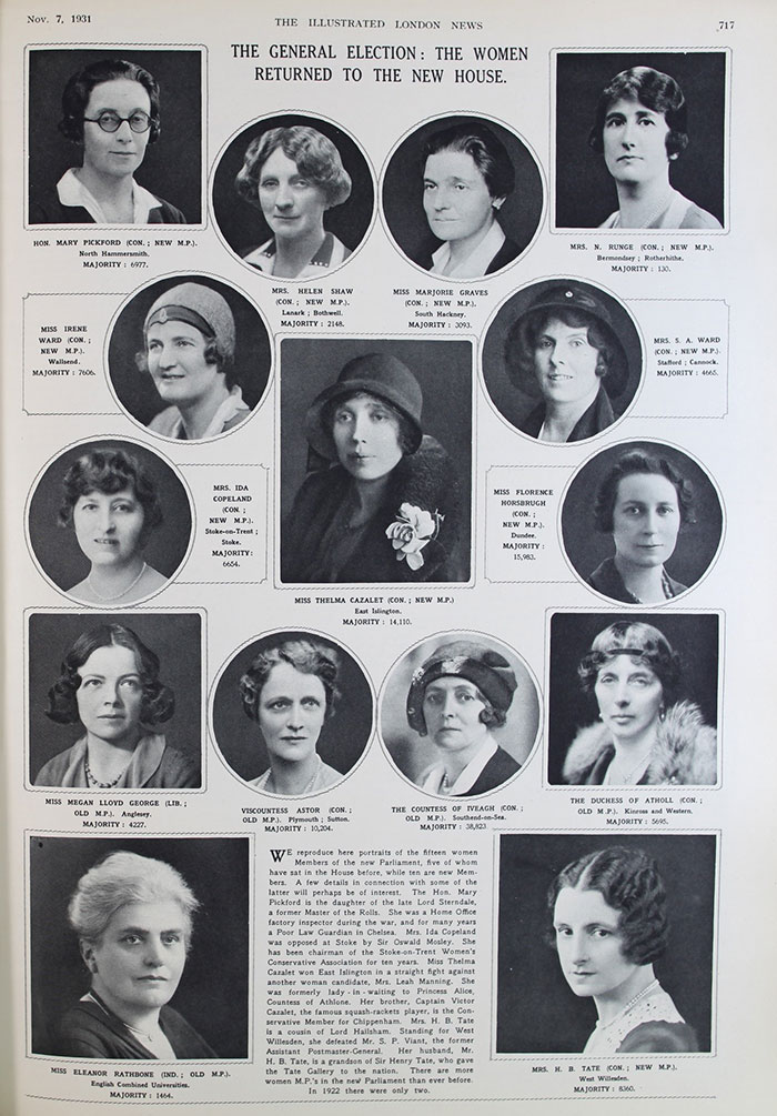 Election spread in the Illustrated London News from 1931, noting 'there are more women in Parliament than ever before. In 1922 there were only two.' ZPER 34/179.