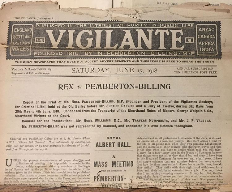 Front page of The Vigilante newspaper, June 1918. Reference: HO 45/22797.