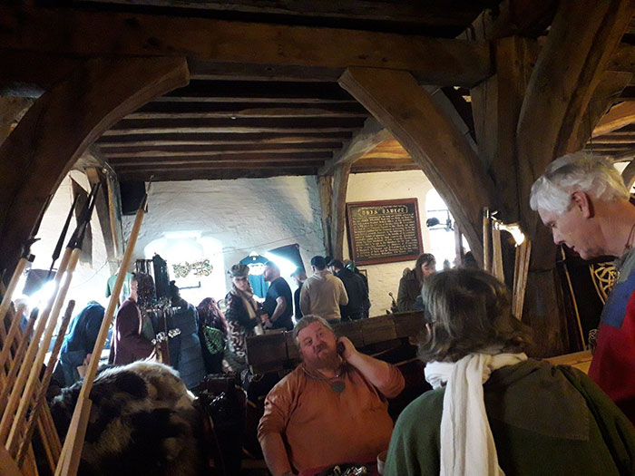 The packed Viking market in the medieval Merchant Adventurers' Hall